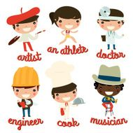 kids professions vector set artist athlete doctor engineer cook musician