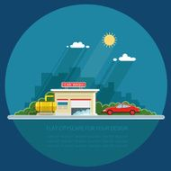 Car on the background of city Flat vector illustration N2