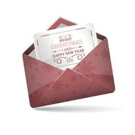 Open red envelope with snowflakes pattern