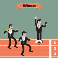 businessman running winner victory use modern technology to