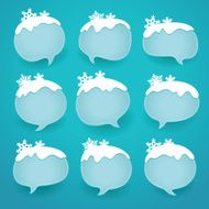 Winter labels in form of speech snow bubbles
