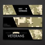Set of modern design banner template in veterans day style N2
