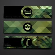 Set of modern design banner template in veterans day style N3