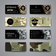 Set of modern design banner template in veterans day style N4