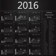 Calendar template with holidays observances and events 2016