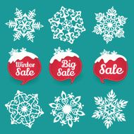 Collection of snowflakes and sale lables Winter discount