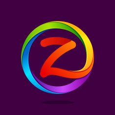 Z letter colorful in the circle