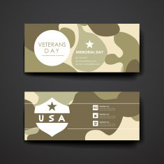 Set of modern design banner template in veterans day style N8