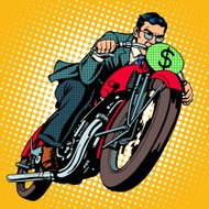 Businessman on a motorcycle Financial success