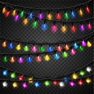Colorful christmas transparent light bulbs collection for celebratory design