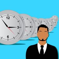 businessman and clocks on the background in flat style
