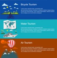 bicycle water air tourism concepts in flat style for web