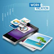 Work and vacation with mobile technology isometric