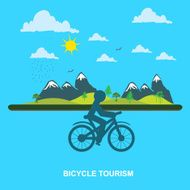 mountain Bicycle tourism flat style for web vector