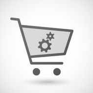 Shopping cart icon with gears