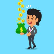 Business concept cartoon businesswoman earning money