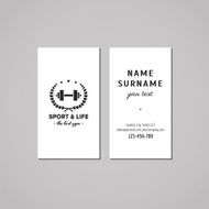 Sport vintage business card design concept Logo with barbell
