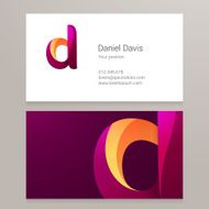 Modern letter d twisted Business card template N2