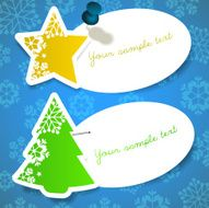 Paper Cut Star and Christmas Tree Shaped Banners with Snowflakes