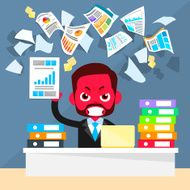 Business Man Red Face Problem Throw Papers Documents Fly Concept