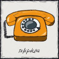 Sketch color illustration Sign Old Phone