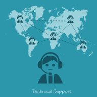 technical support operator vector illustration