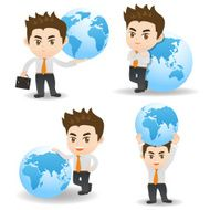 cartoon illustration Businessman with global