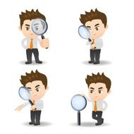 Businessman with magnify glass