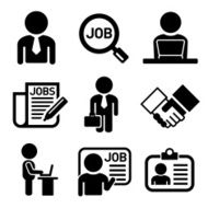 Business Management and Human Job Resources Icons Set Vector