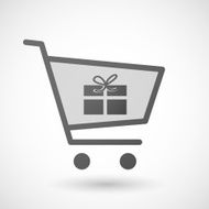 Shopping cart icon with a present