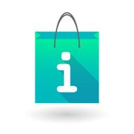 Blue shopping bag icon with an info sign