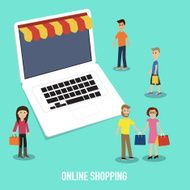 People in the online shopping illustrator EPS10