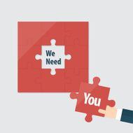 Flat design jigsaw icon for recruitment advertising