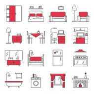 Furniture Line Icons Set