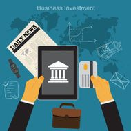 business investment flat vector illustration apps banner sketch N2