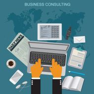business consulting flat vector illustration apps banner