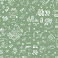 Financial and Business symbols Hand drawn Doodles Money Seamless pattern N2