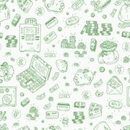 Financial and Business symbols Hand drawn Doodles Money Seamless pattern N3