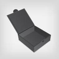Open gray packaging design box mockup Gray squared shape