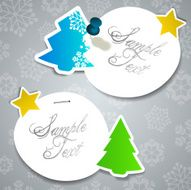 Paper Cut Christmas Tree Shaped Banners with Snowflakes