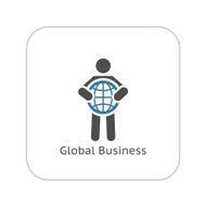 Global Business Icon Flat Design N5