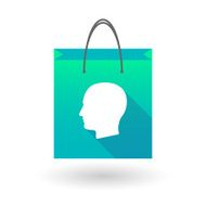 Blue shopping bag icon with a man head