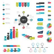 Collection of infographics elements Colorful set template