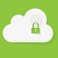 White Cloud with green padlock on background