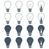 set of incandescent lamps (bulbs) on the gray background