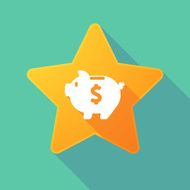 Star icon with a piggy bank