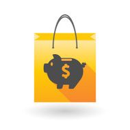 Yellow shopping bag icon with a piggy bank