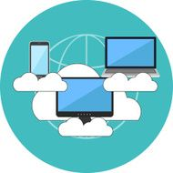 Cloud computing concept Flat design