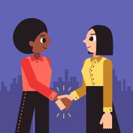 Woman shaking hands vector background (african american and brunette bob)