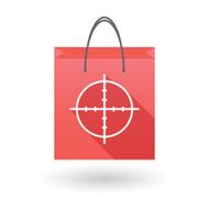 Red shopping bag icon with a crosshair